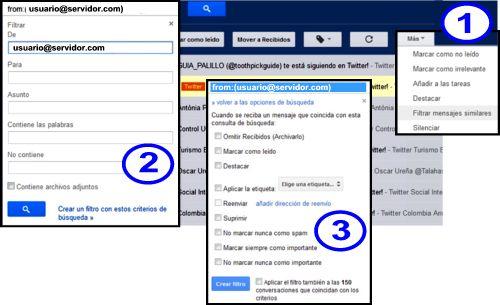 Todas las combinaciones de filtros de Gmail