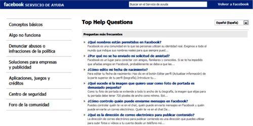 Página de preguntas frecuentes de Facebook