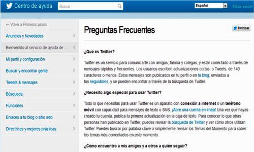 Página de preguntas frecuentes de Twitter