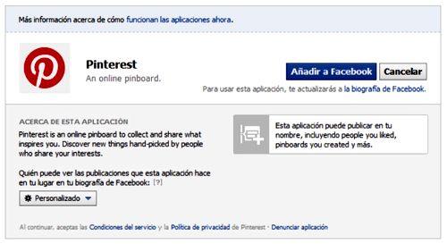 Acceso con Facebook para Pinterest