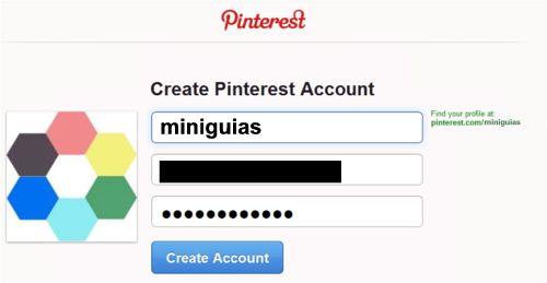 creacion de la cuenta en Pinterest