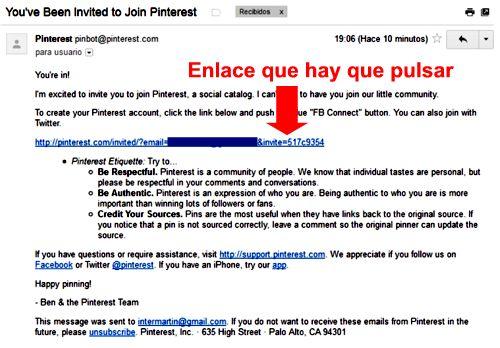 email invitacion de Pinterest