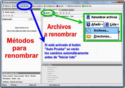 Pantalla principal de Advanced Renamer