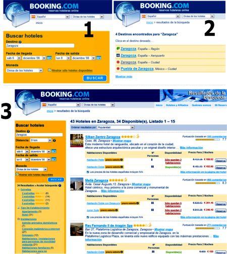 Tres pasos del buscador de Booking.com