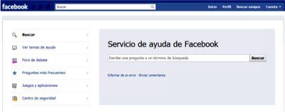 Servicio de ayuda de Facebook