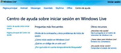 Servicio de ayuda de Windows Live
