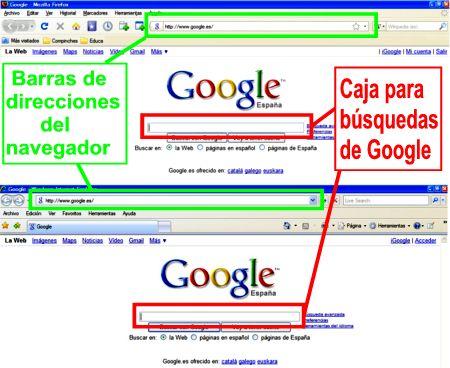 Barra de direcciones y caja búsqueda de Google