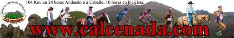 banner de la calcenada. a pie, a caballo, en bicicleta, corriendo