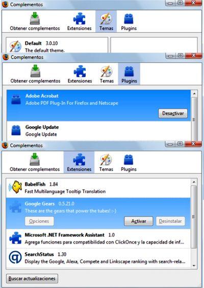 Administrar los complementos de Firefox