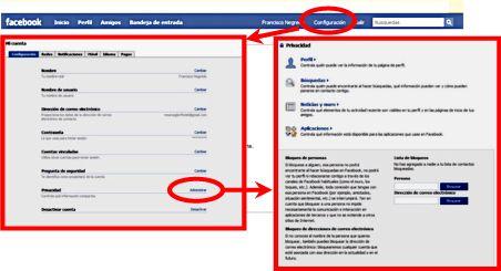 Configuración - Privacidad en Facebook