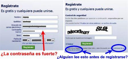 Primer paso en el registro de una cuenta en Facebook