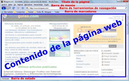 ventana de Firefox. Barras de herramientas y panel de la página web