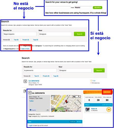 Proceso para reclamar un negocio en Foursquare