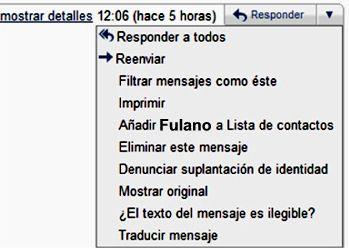 acciones desde el propio mensaje en gmail