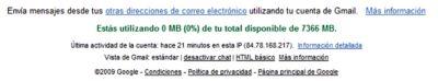 Información al pie de página central en Gmail
