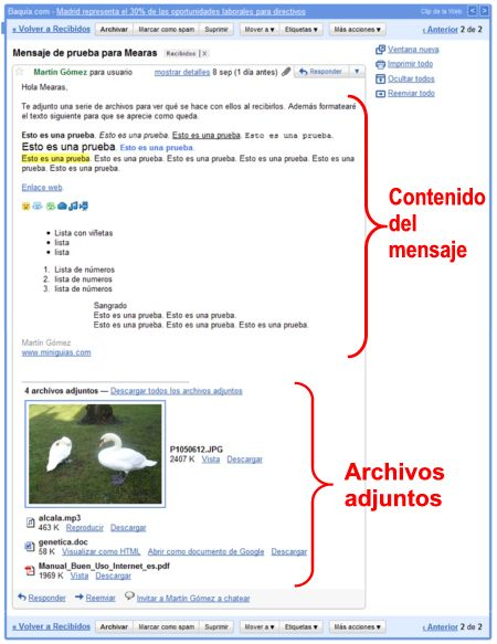 Un mensaje o conversación de Gmail