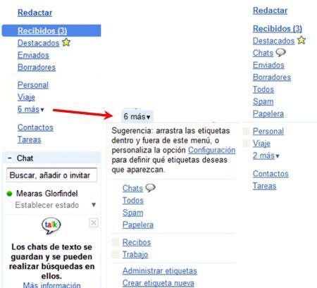 Menú lateral de Gmail