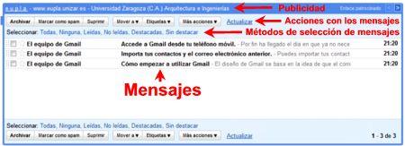 Panel central de Gmail