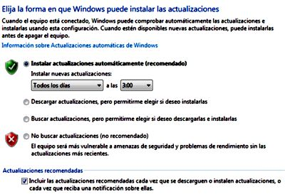 Configurar actualizaciones de Windows