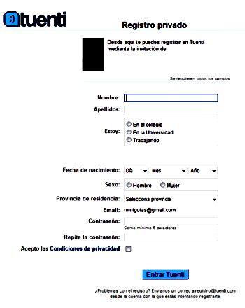 Formulario de registro en Tuenti