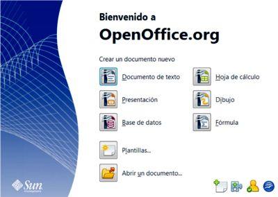Panel de bienvenida de OpenOffice