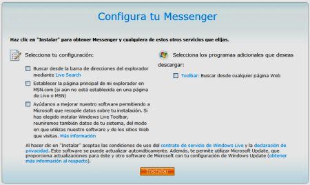Primera ventana para descargar Windows Live Messenger