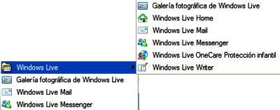 Aplicaciones Live en el menu Inicio