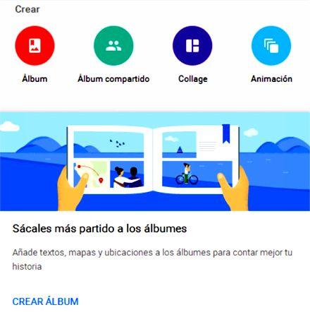 Google Fotos. Asistente para crear álbumes, collages y animación