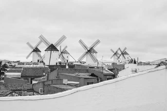 Molinos Campo de Criptana. Blanco y negro