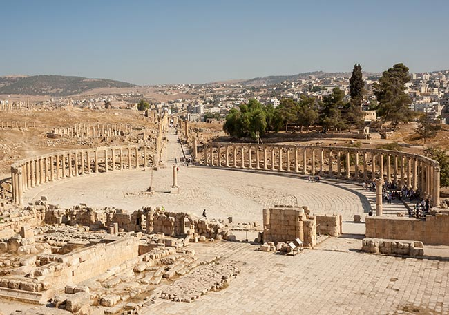 Plaza Oval de Jerash. Jordania