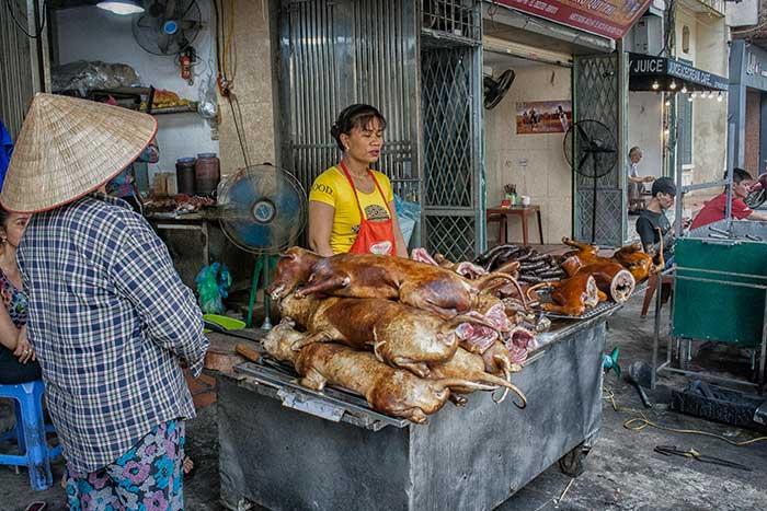 Hanoi barrio antiguo perros asados