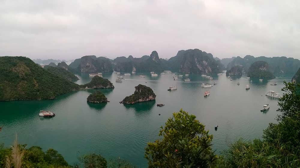 Panorámica de la bahía de Ha Long visto desde el mirador de la isla Isla Ti Top