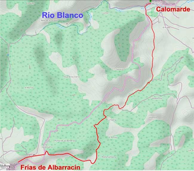 Plano de la ruta de las Banderas.